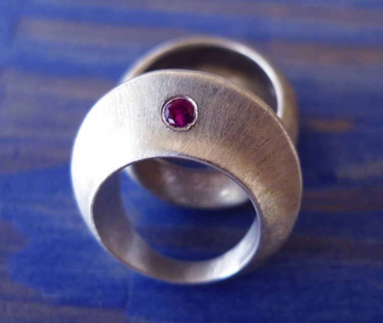 Chunky engagement ring set with ruby