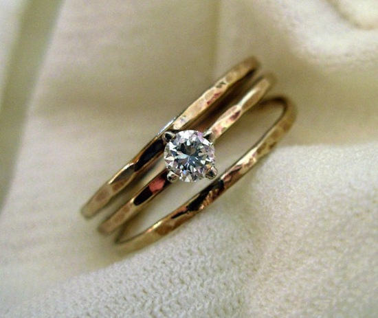Hammered 14k gold engagement ring