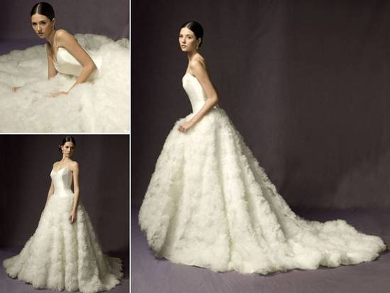 Dramatic strapless ballgown wedding dress with texture-rich skirt