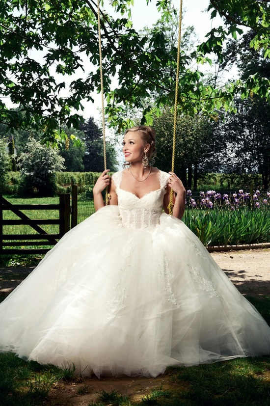 Magical wedding gown picture on swing