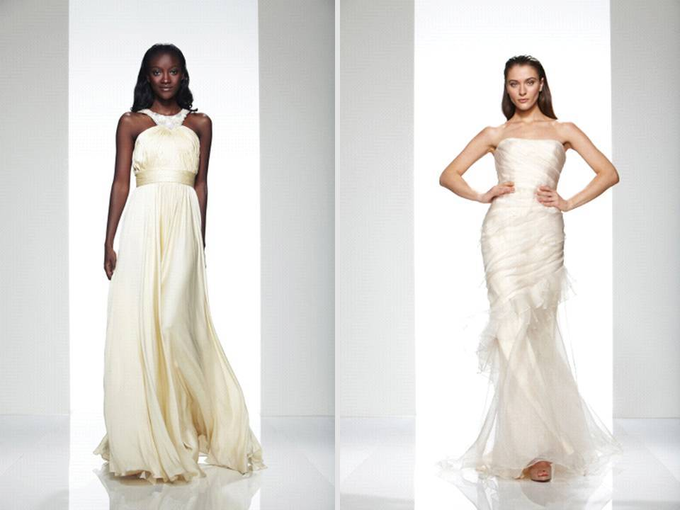 Gold and champagne jacquard wedding dresses and reception dresses