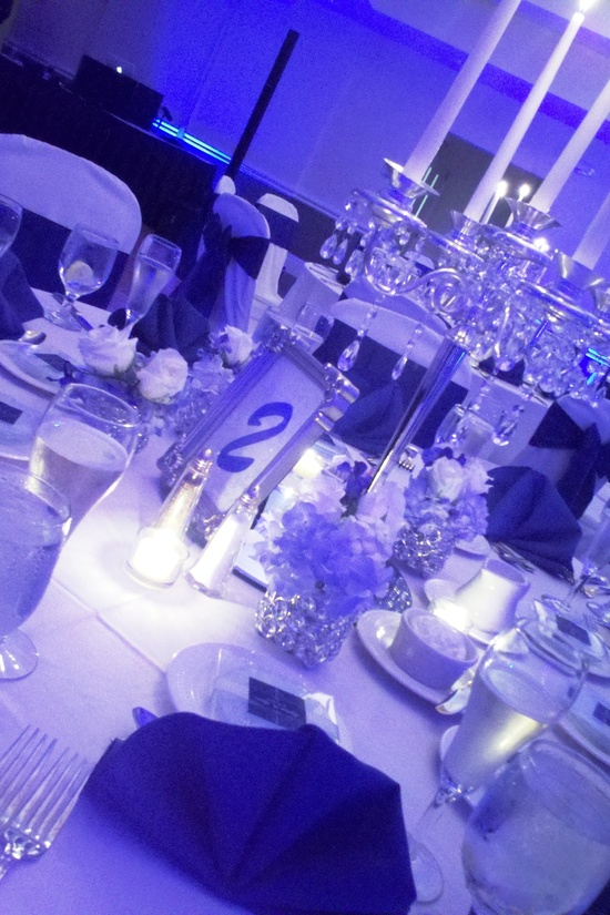 Reception: Blue lighting, crystals, candles
