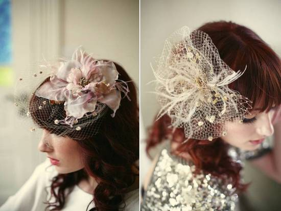 Romantic blush pink and nude bridal hair flowers and veils
