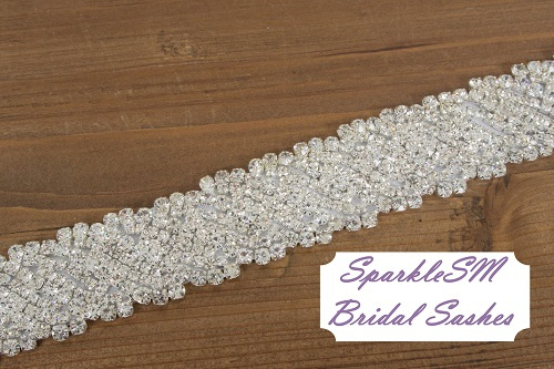 Angelina w bannerBridal Sash Belt Bridal Sash Wedding Dress Crystal Rhinestone Bridal Belt - Angelina