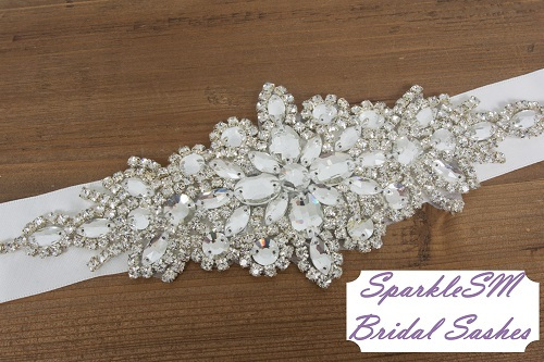 Rhinestone Applique, Wedding belt, Rhinestone dress sash, Bridal Belt, Bridal Accessories, Rhinestone Crystal Appliqué Bridal Sash - Carly