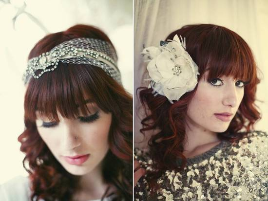 Rhinestone-encrusted vintage bridal headband; chic ivory wedding hair flower