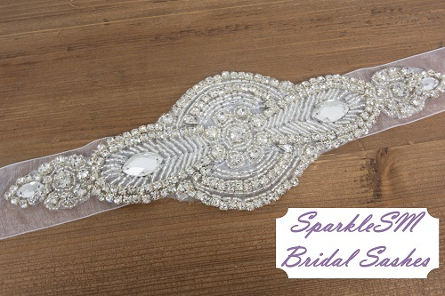 Wedding sash, Bridal belt, Bridal sash - Satin Ribbon with Crystal and Rhinestone Beaded Applique, Bridal Belt - Delaney
