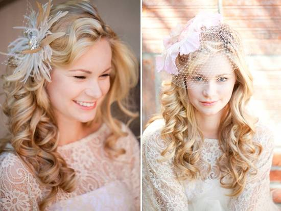 Romantic wedding day hair and head accessories, vintage-inspired