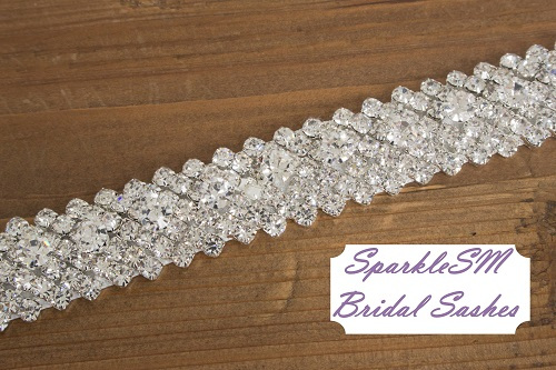 "Crystal Bridal Sash Rhinestone Bridal Beaded Rhinestone Sash Wedding Sash 18"" Rhinestone Bridal Sash - Holly"