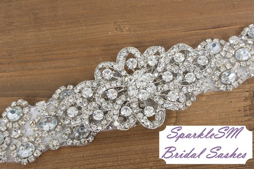 Bridal Sash, Wedding Sash, Bridal Belt, Crystal Sash, Rhinestone Sash, Jeweled Belt, Bridal Belt, Wedding Gown BeltElegant Bridal Sash Leona