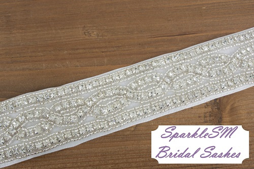 Rhinestone Bridal Sash, Rhinestone and crystal Wedding belt, Rhinestone satin sash, Jeweled and beaded sash, Bridal Accessories Lexie