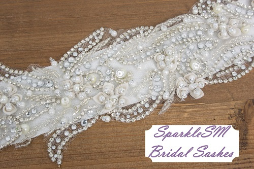 Rhinestone Bridal Sash, Rhinestone and Crystal Wedding Belt, Rhinestone Pearls Satin Sash, Jeweled Beaded Sash, Bridal Accessories - Liv