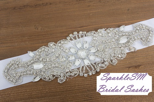 Wedding sash, Bridal belt, Bridal sash - Satin Ribbon with Crystal and Rhinestone Beaded Applique, Couture Bridal Sash - Mo