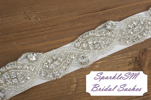 Stunning Crystal Bridal Sash Rhinestone Bridal Beaded Rhinestone Sash Wedding Sash Jeweled Bridal Sash - Portia