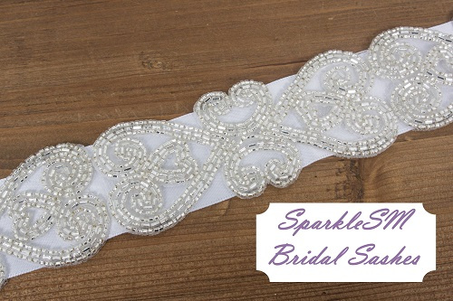 Riley Bridal Sash - SparkleSM Bridal Sashes