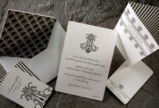 Chic black and white letterpress invitations for a Black Tie downtown affair