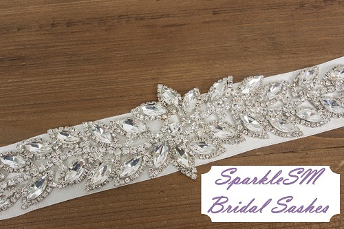 Stunning Crystal For Bridal Sash Rhinestone Bridal Beaded Crystal Rhinestone Applique Rhinestone Bridal Sash - Willow