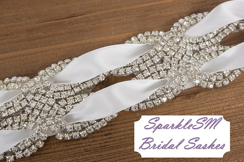 Rhinestone Bridal Sash, Rhinestone and Crystal Wedding Belt, Rhinestone Pearls Satin Sash, Jeweled Beaded Sash, Bridal Accessories - Yardley