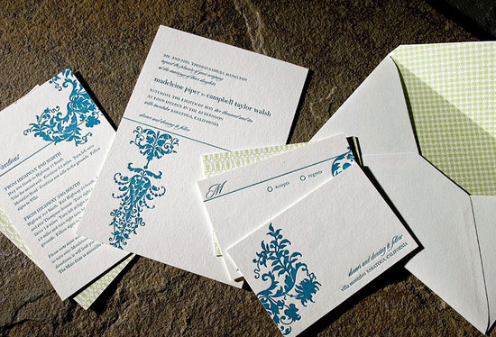 White, teal blue and sage green eco-friendly letterpress wedding invites