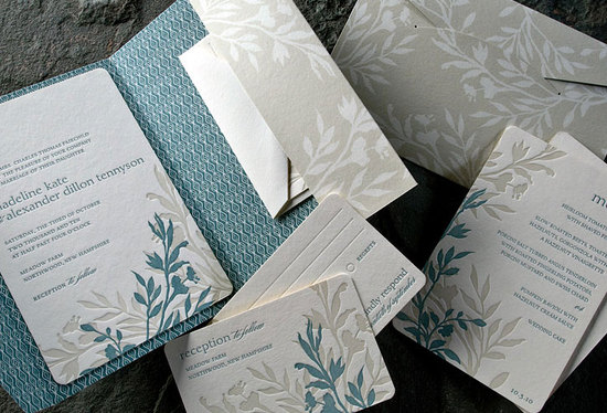 Nature-inspired eco-friendly letterpress wedding invitations