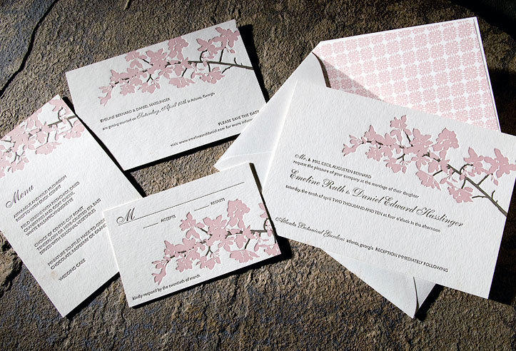 cherry blossom wedding invitations printed on eco-friendly bamboo, Wedding invitations