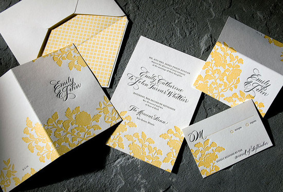 Sunny white yellow and black letterpress wedding invitations