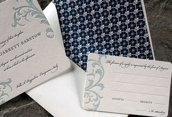 Classic white and blue eco-friendly letterpress wedding invitation