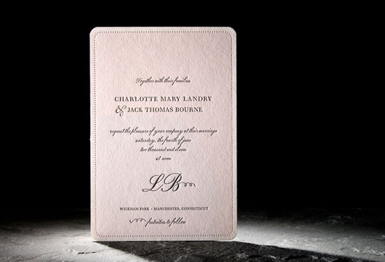 Light pink and black romantic letterpress wedding invitation