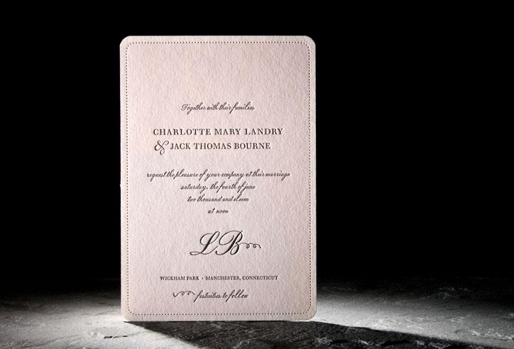 Pink And Black Wedding Invitations: Light Pink And Black Romantic Letterpress Wedding