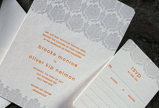 Contemporary grey, white and orange letterpress wedding invitations