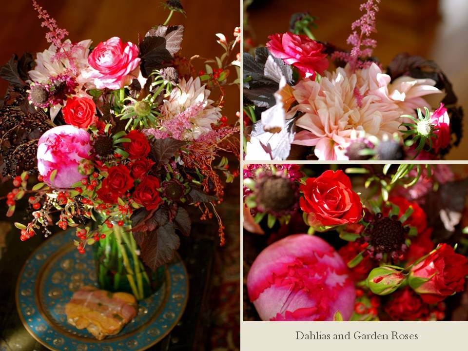 Statement wedding flower arrangement of peonies and dahlias