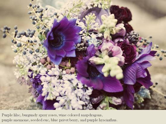 Deep purple, blue and ivory statement bridal bouquet