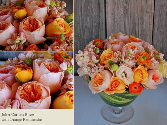Romantic orange and peach Juliet Roses and peonies wedding centerpiece