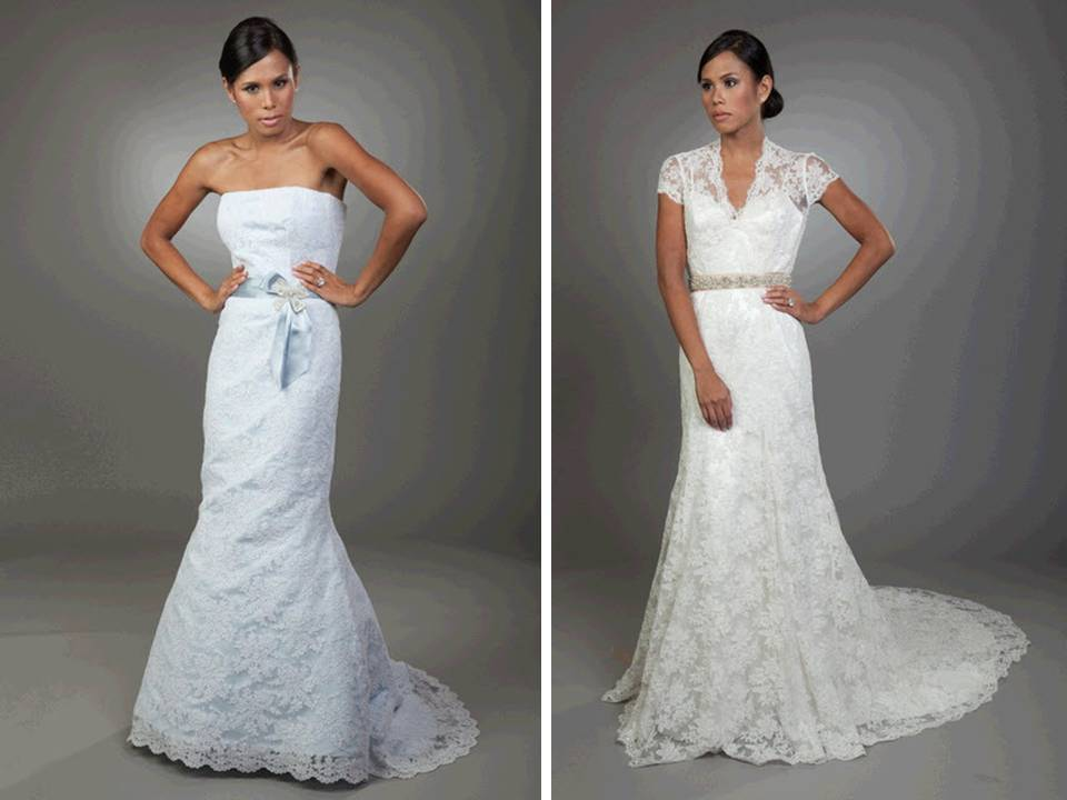 light blue lace mermaid wedding dress and white lace v