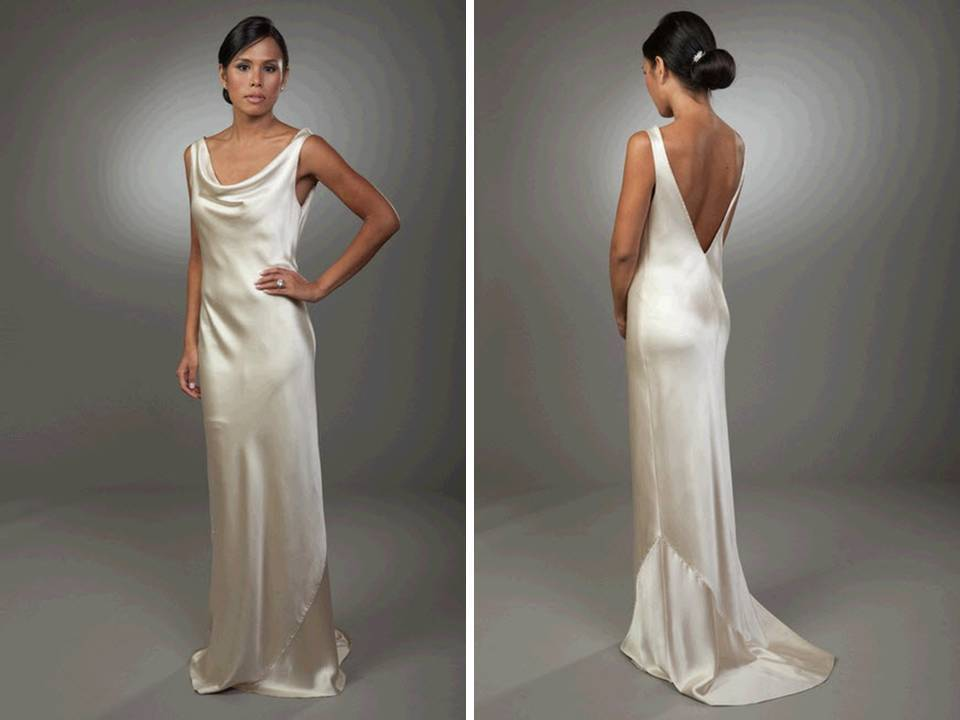 Sleek column silk wedding dress with open v back for V neck satin wedding dress