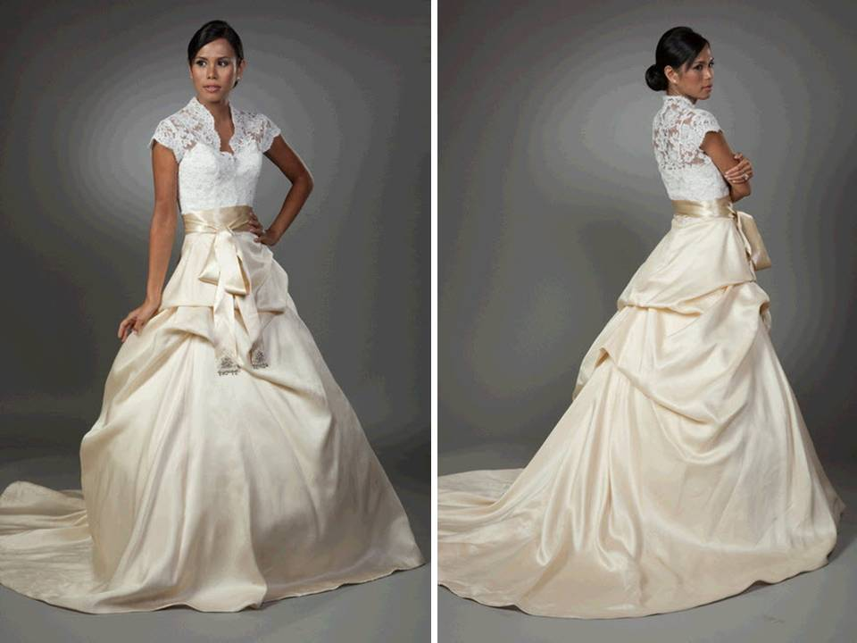 Dramatic full ballgown two tone wedding dress- white lace bodice, blush pink sklrt