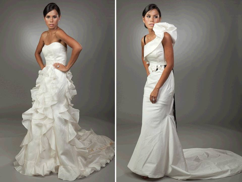 Strapless Modified A Line Textured Wedding Dress Sleek One Shoulder Mermaid Gown