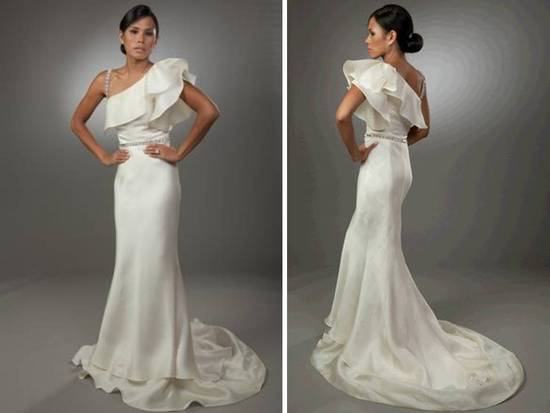 Sleek one-shoulder ivory wedding dress with ruffle detail