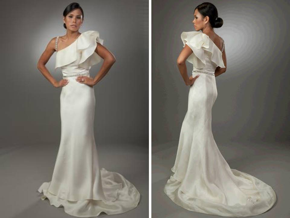 Sleek one shoulder ivory wedding dress with ruffle detail for One shoulder wedding dress