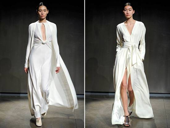 Sleek white v-neck draped Halston gowns, perfect for a beach wedding