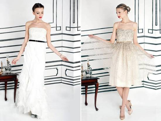 Alice and Olivia Fall 2011 RTW white strapless dress with black bridal belt