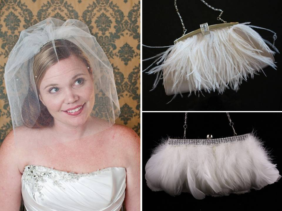 Vintage chic bridal veil and feather-adorned wedding day clutches