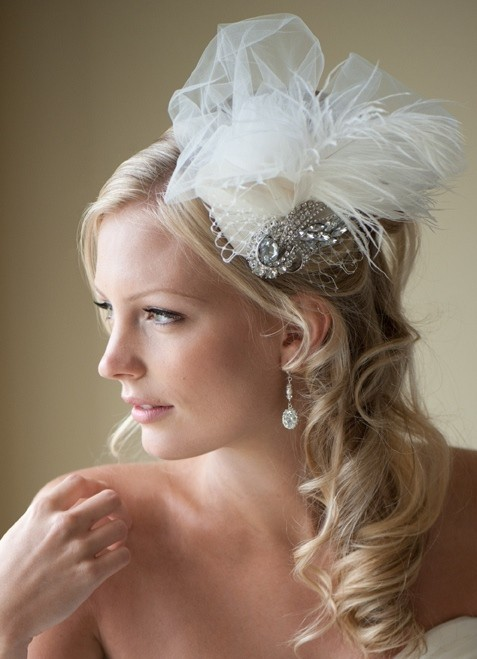 photo of TRISTA - Feather and Tulle Headpiece with Brooch