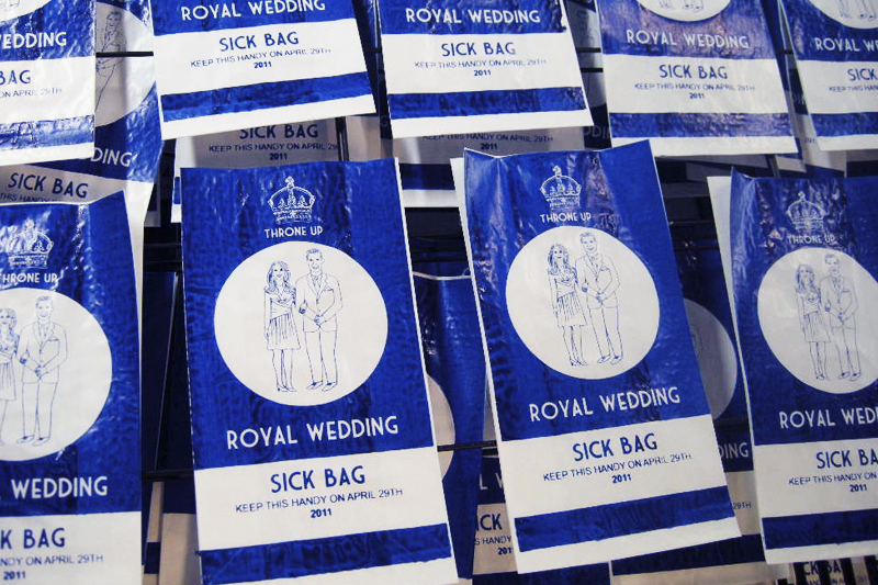 Adorable royal wedding barf bags for those sick of hearing about the royal wedding