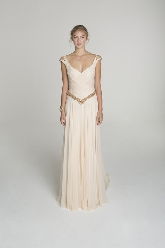 photo of Blush and gold wedding dress from Alana Aoun