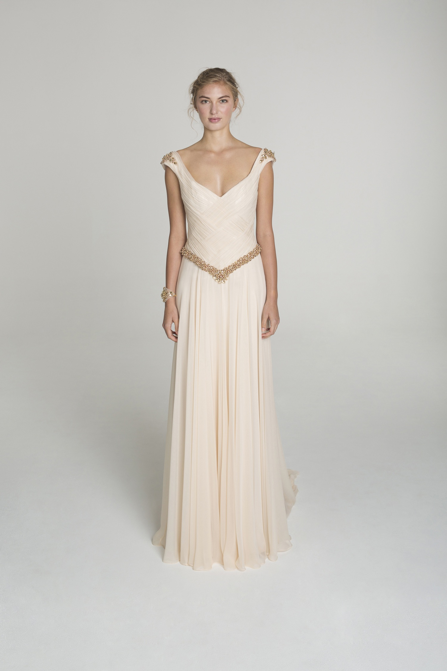 blush and gold wedding dress from alana aoun