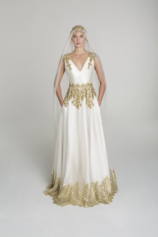Gold applique wedding dress from Alana Aoun