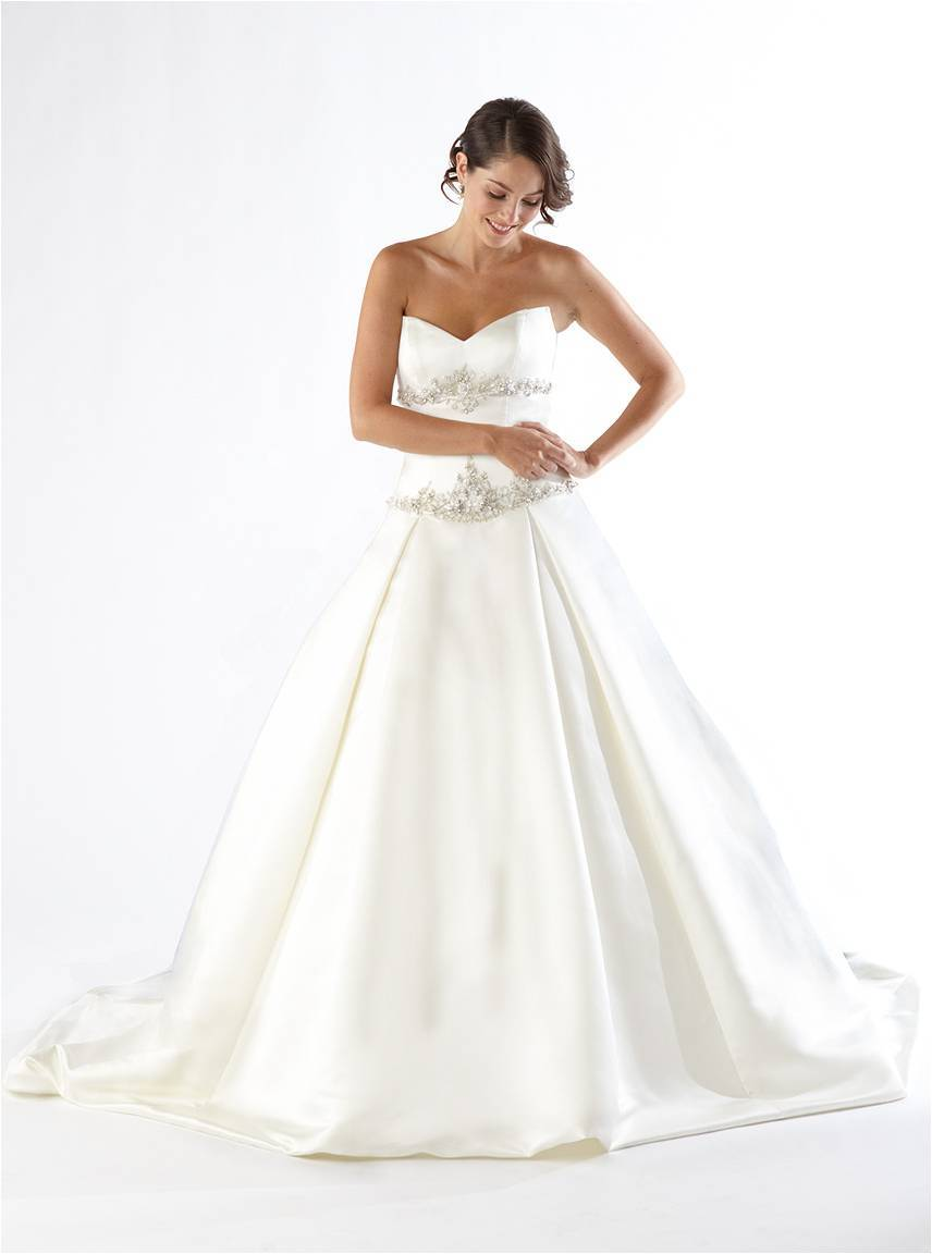 White satin strapless a line wedding dress with rhinestone for Strapless wedding dresses with bling