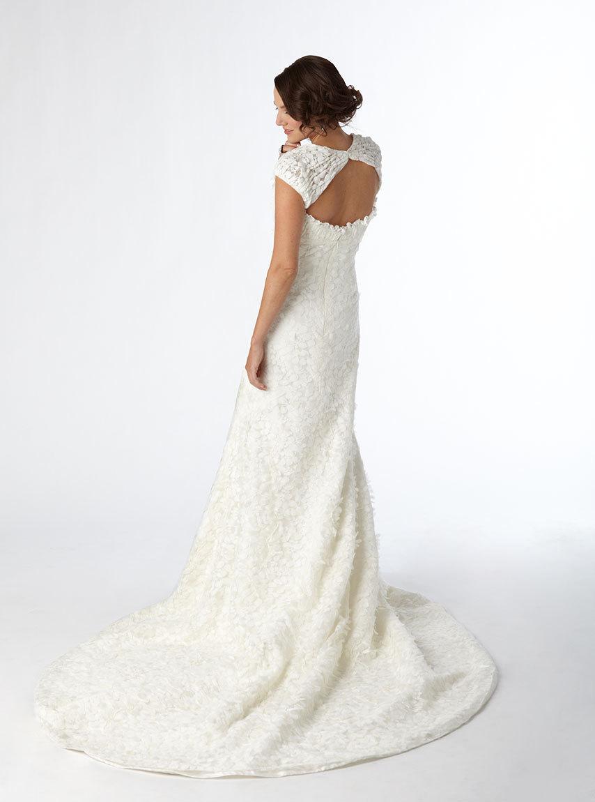 White Lace Mermaid Wedding Dress With Open Keyhole Back