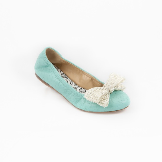 Blue bridal flats with white bow clip
